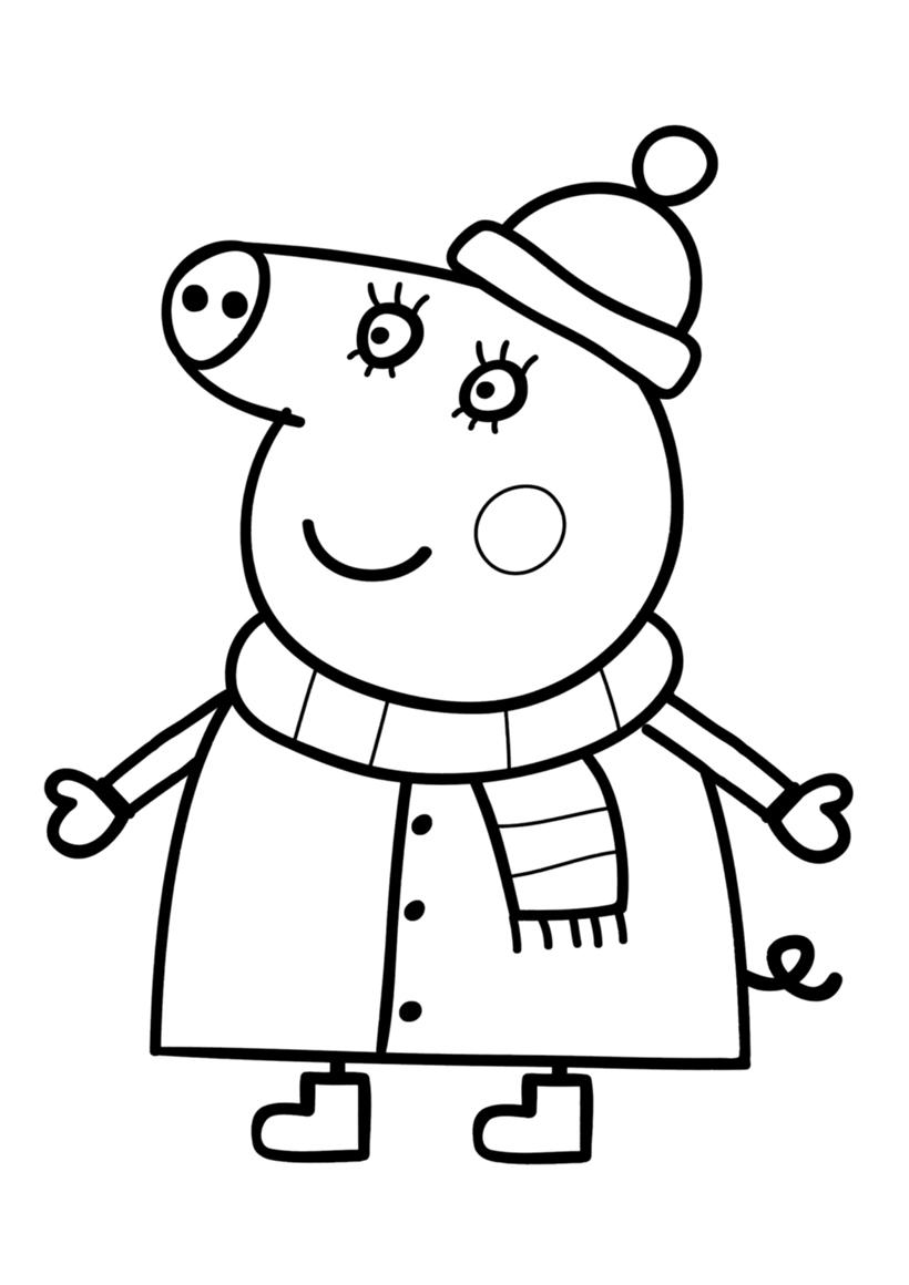Раскраска Мама Свинка в зимней одежде распечатать или ...