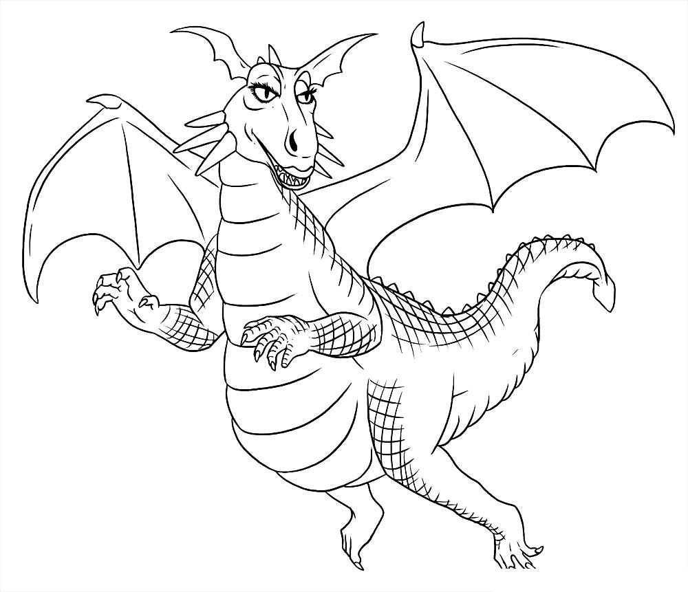 Раскраска Дракон-девушка распечатать или скачать бесплатно