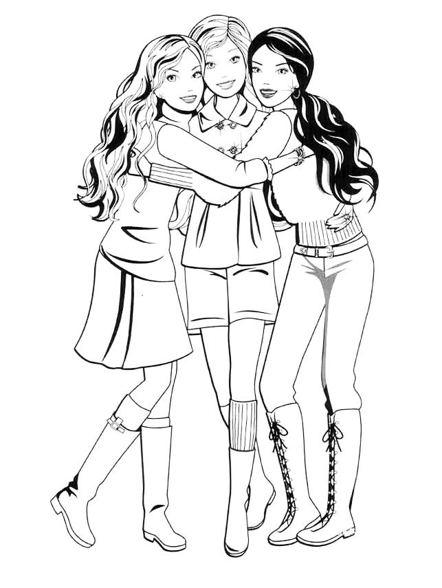 Раскраска Неразлучные друзья Барби распечатать или скачать ...