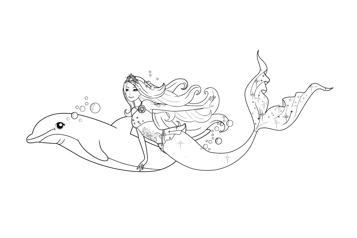 Раскраска Русалка Барби с дельфином распечатать или ...