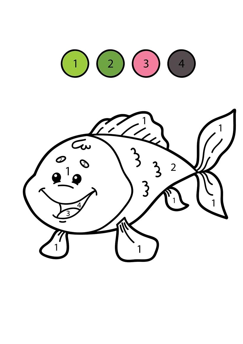 Раскраска Рыбка по цифрам распечатать или скачать бесплатно