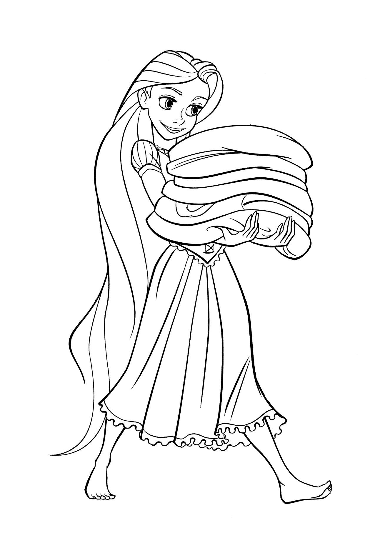 Раскраска Рапунцель несет полотенца распечатать или ...