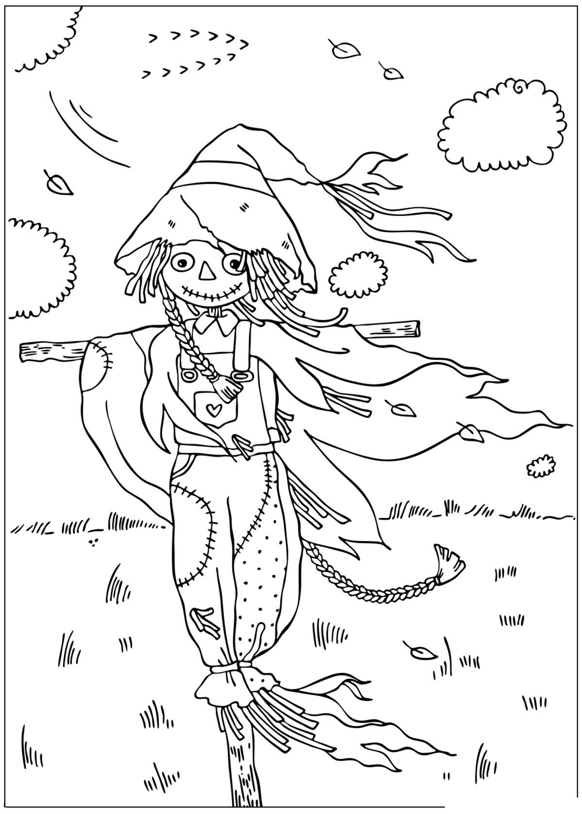 Раскраска Пугало в поле распечатать или скачать бесплатно