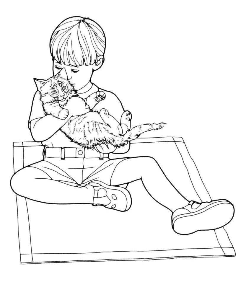 Раскраска Котенок играет с мальчиком распечатать или ...