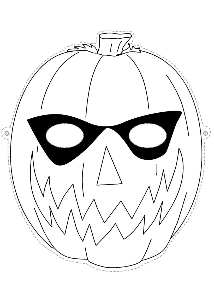 Раскраска Маска Хэллоуин распечатать или скачать бесплатно