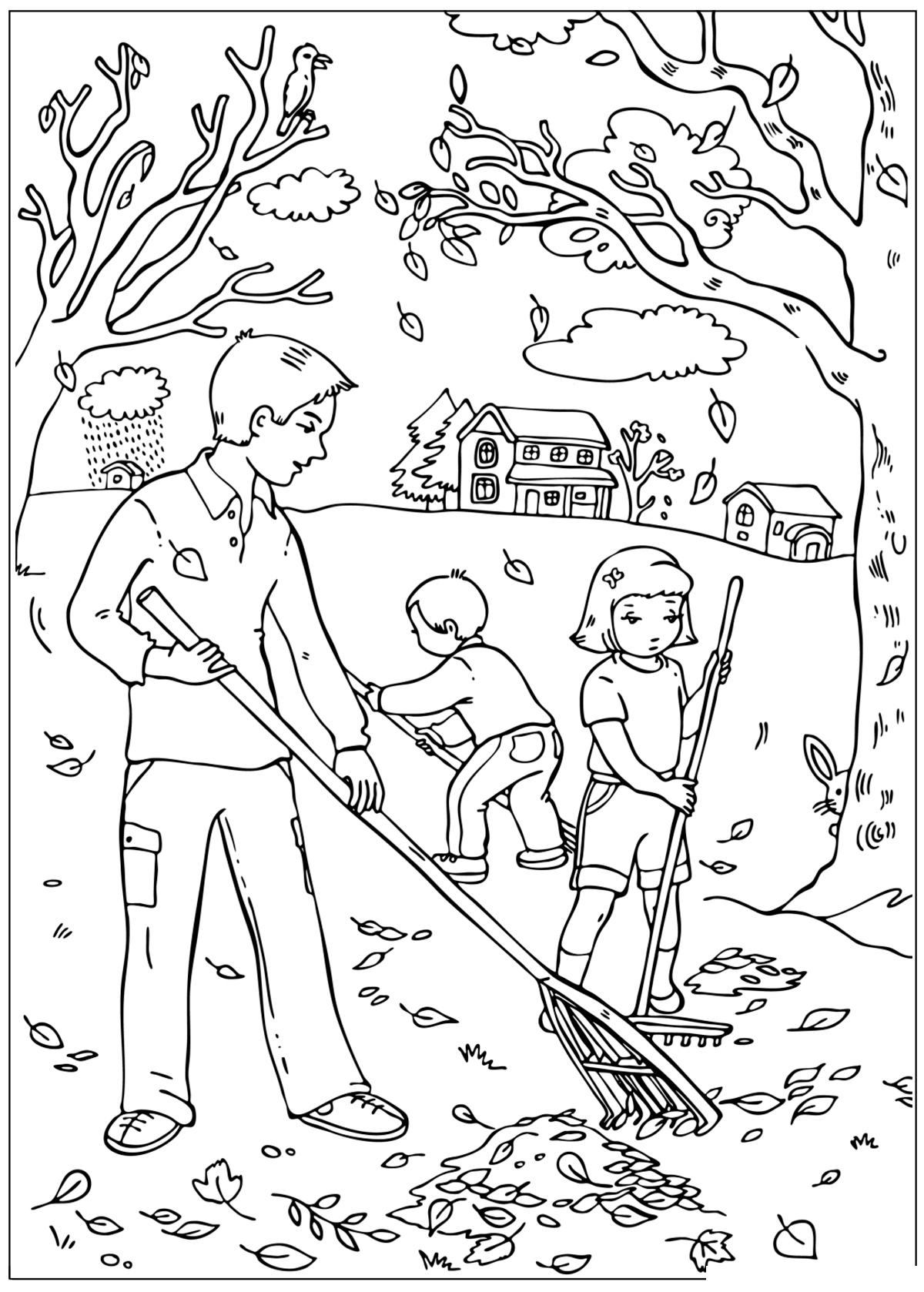 Раскраска Уборка листьев осенью распечатать или скачать ...
