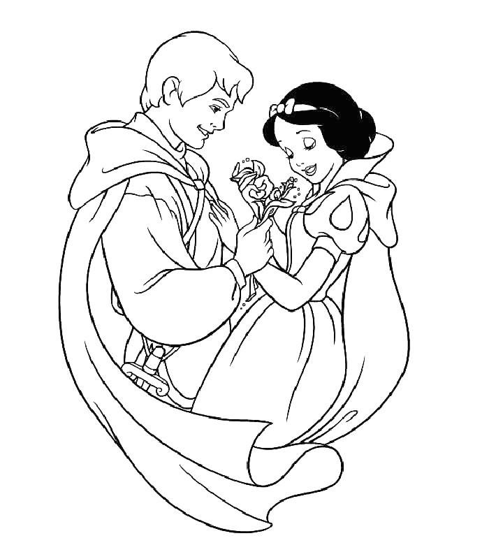 Раскраска Принц подарил цветы Белоснежке распечатать или ...