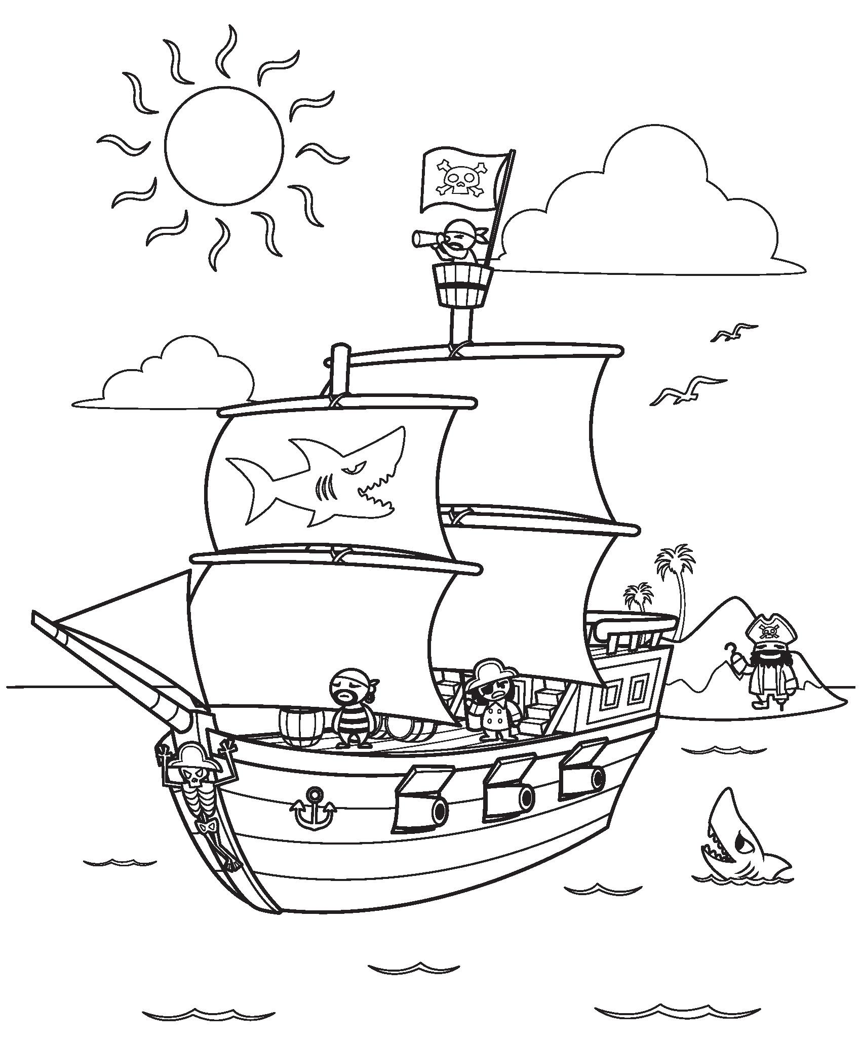 раскраска пиратский корабль распечатать или скачать бесплатно