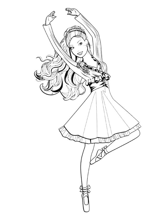 Раскраска Балерина-Барби распечатать или скачать бесплатно