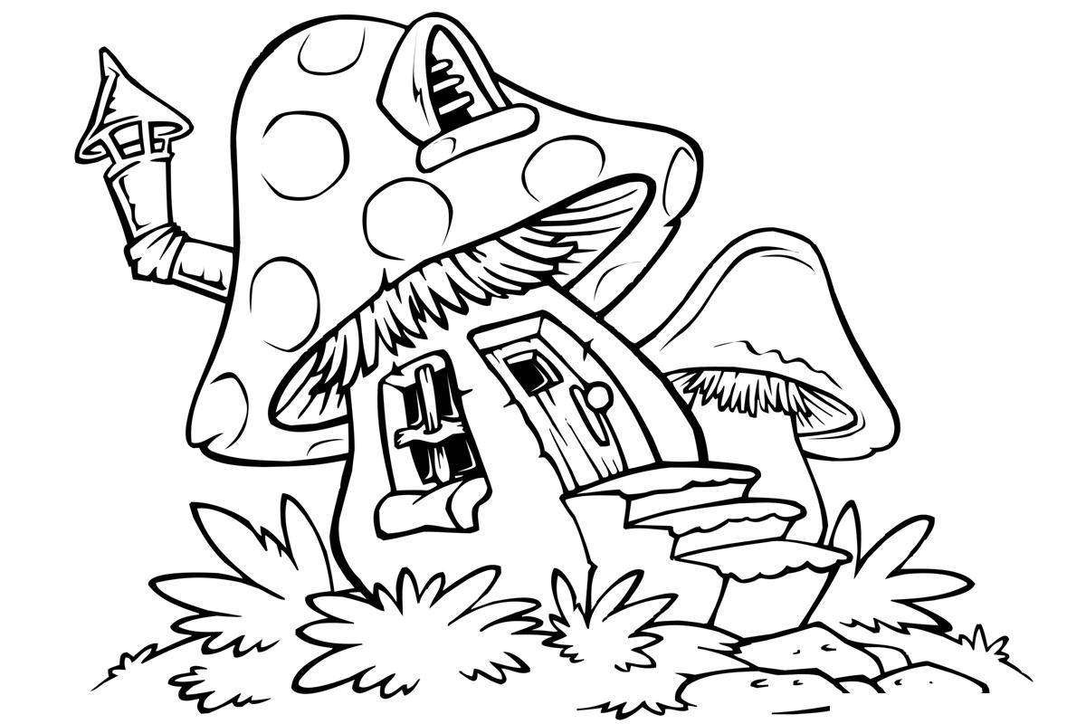 Раскраска Грибной домик распечатать или скачать бесплатно