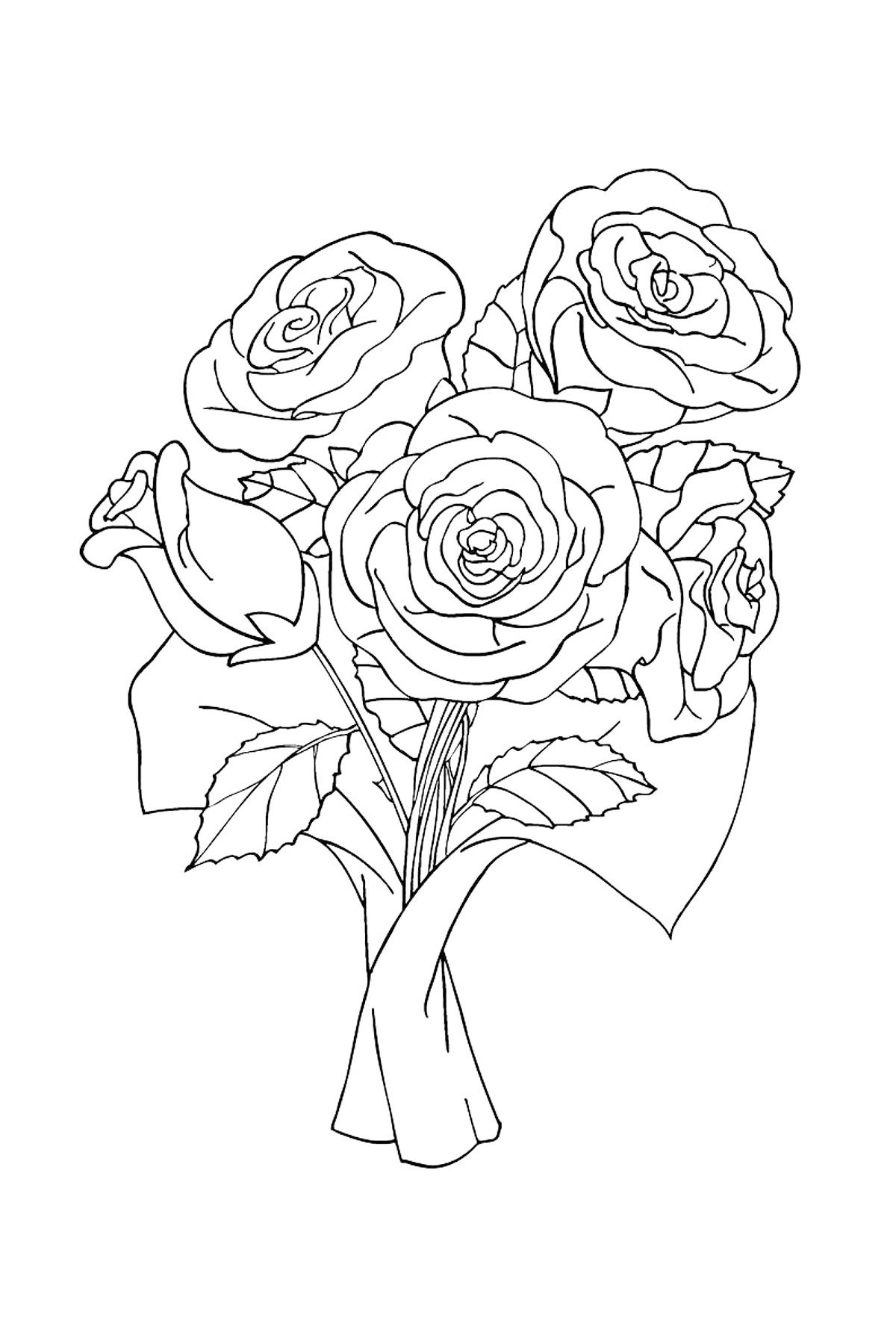 Раскраска Розы в подарок распечатать или скачать бесплатно