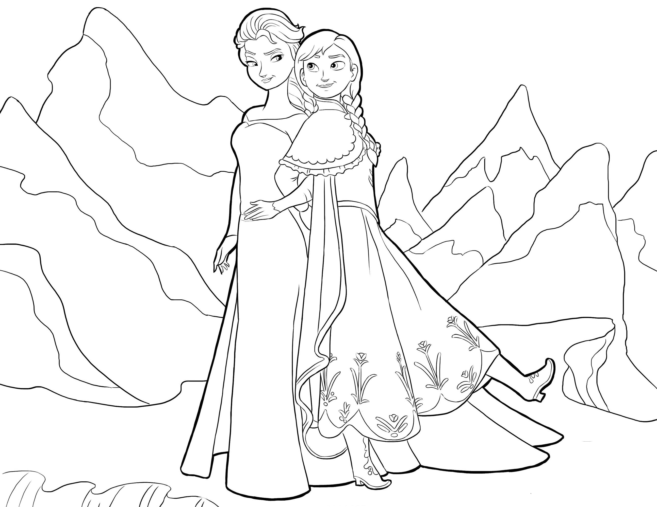 Раскраска Анна и Эльза вместе распечатать или скачать ...
