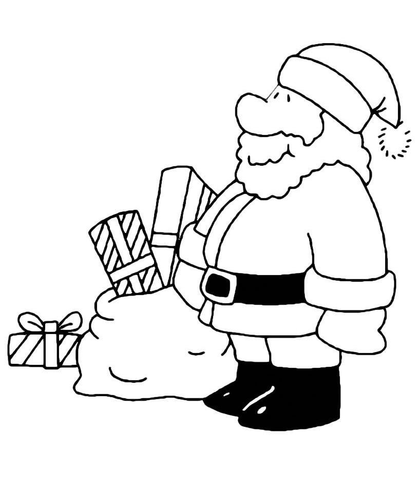 Раскраска Коробки с подарками от Деда Мороза распечатать ...