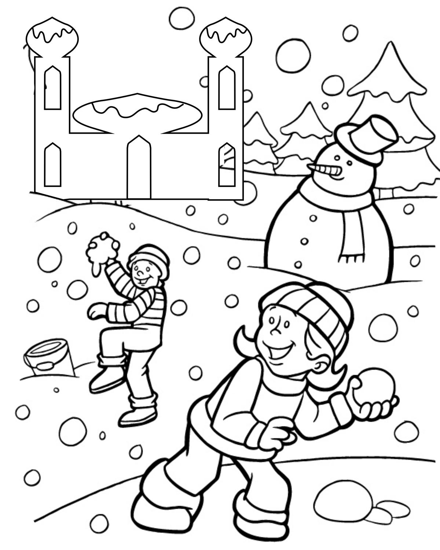 Раскраска Снеговик и дети распечатать или скачать бесплатно