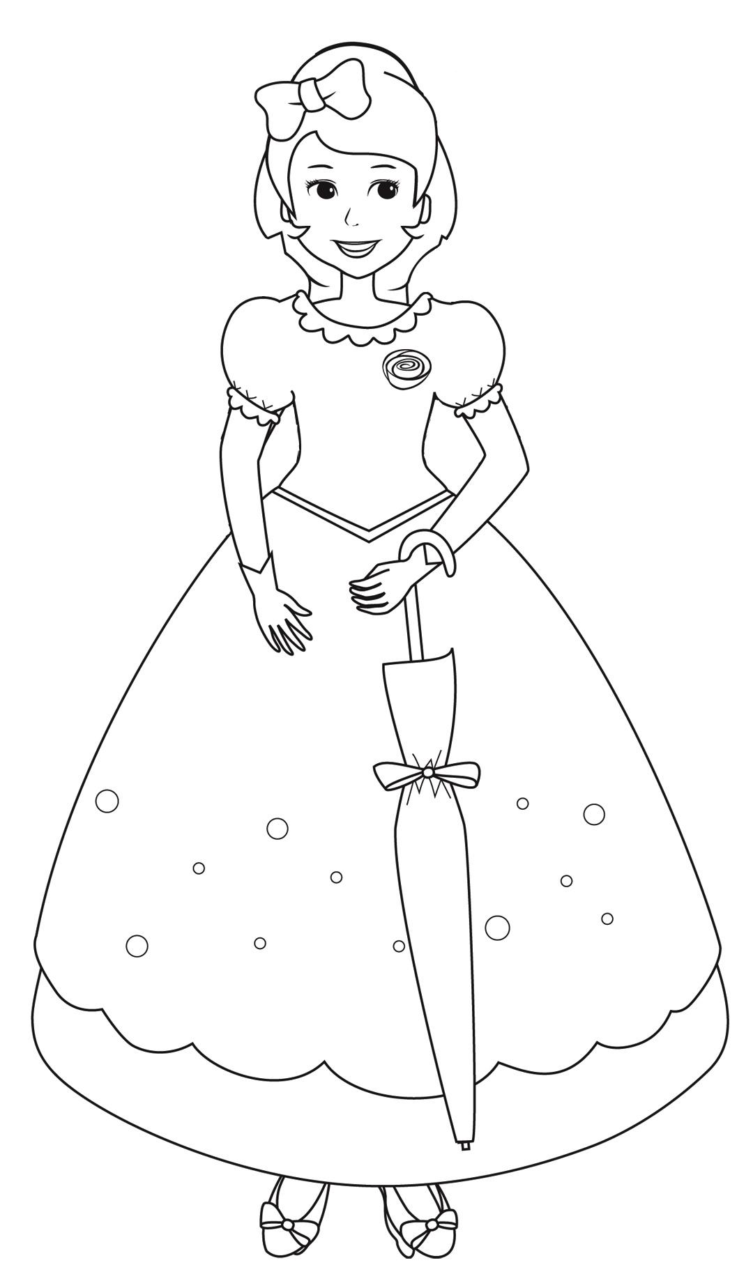 Раскраска Принцесса с зонтиком распечатать или скачать ...