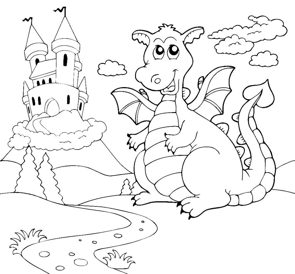 Раскраска Дракон охраняет замок распечатать или скачать ...