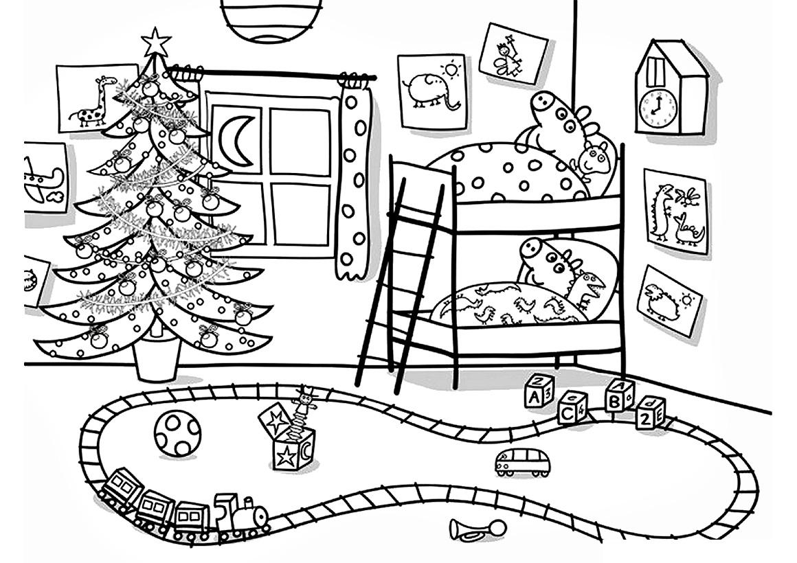 Раскраска Пеппа и Джордж на Новый год распечатать или ...