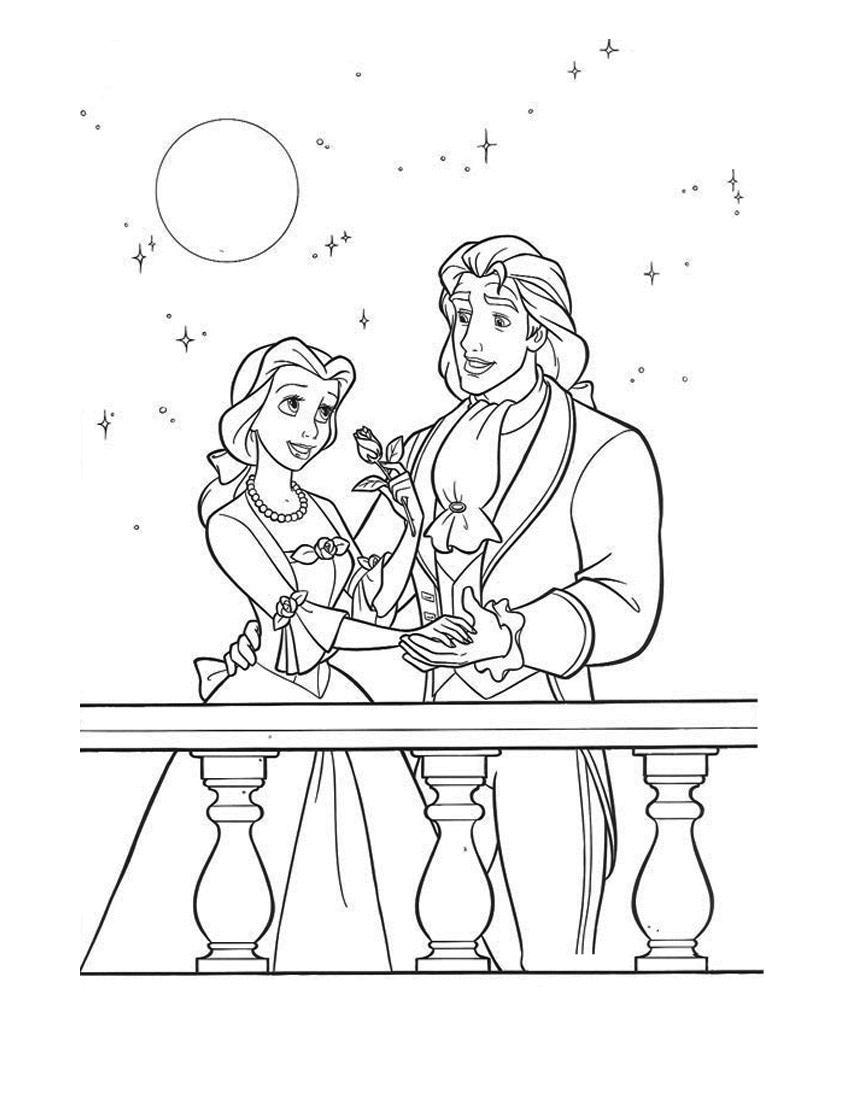 Раскраска Принц и принцесса распечатать или скачать бесплатно