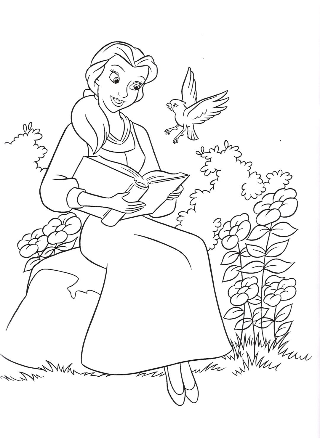 Раскраска Принцесса и волшебная птичка распечатать или ...