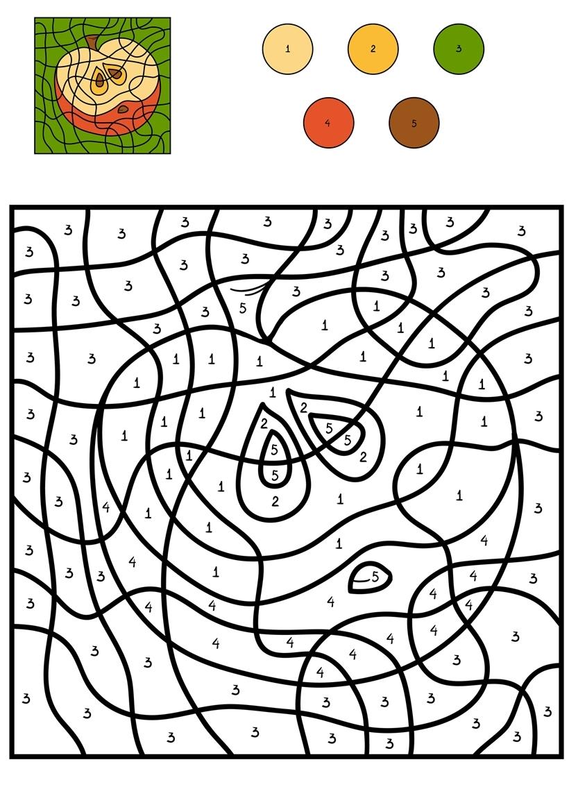 Раскраска Яблоко по цифрам распечатать или скачать бесплатно