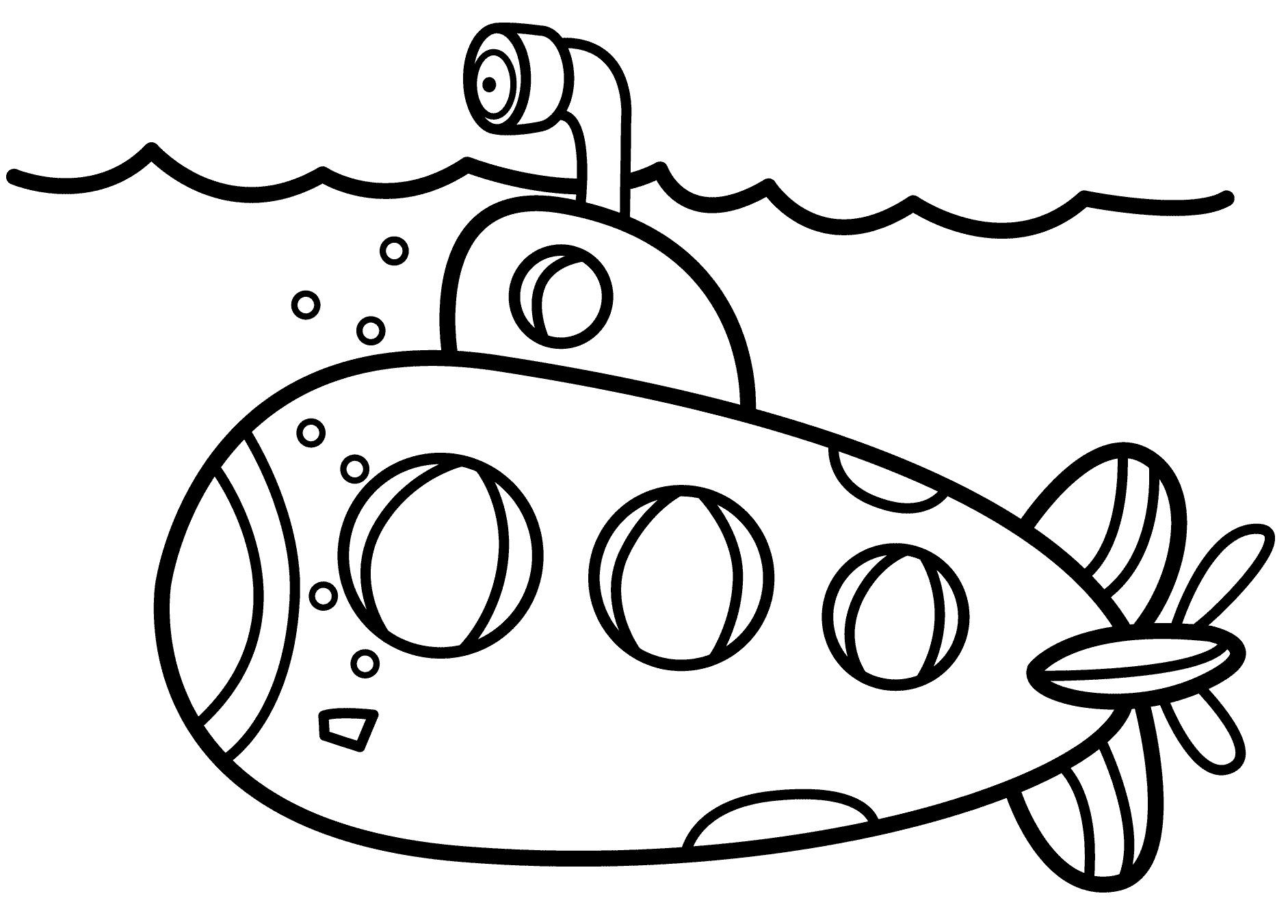 Раскраска Субмарина распечатать или скачать бесплатно
