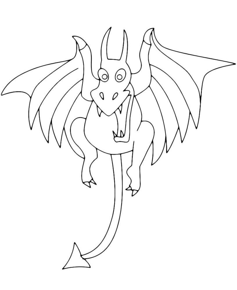 Раскраска Дракон с хвостом-стрелой распечатать или скачать ...