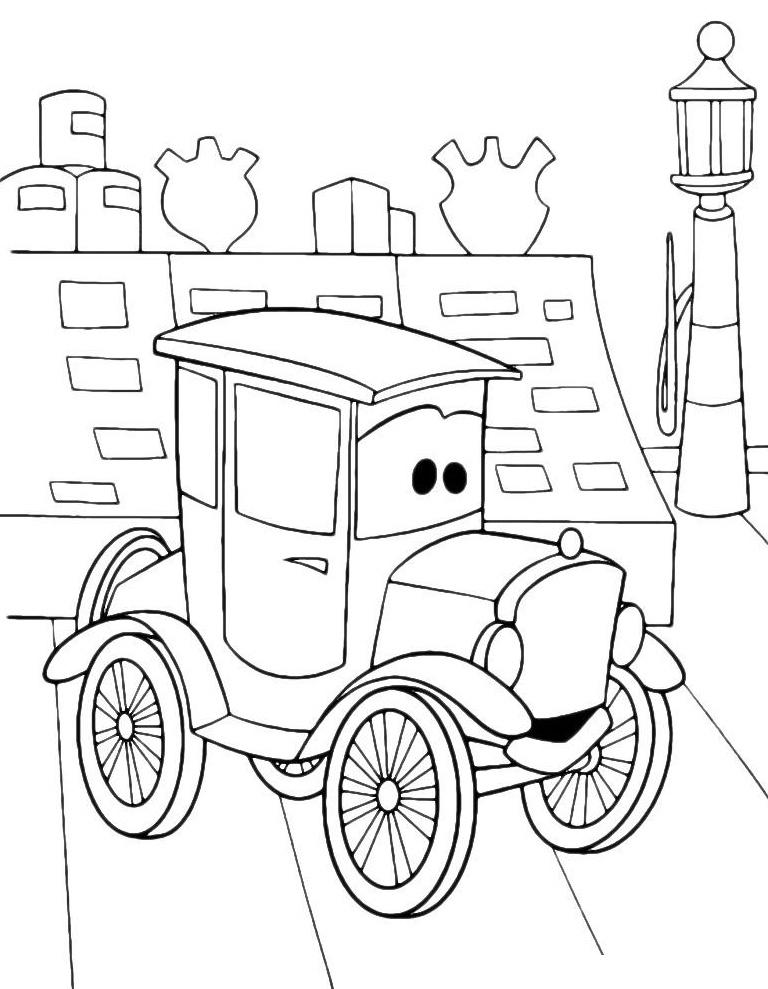 Раскраска Ретро автомобиль распечатать или скачать бесплатно