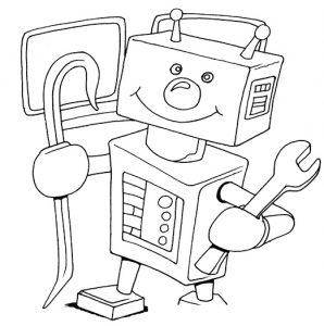 раскраска робот светофор распечатать или скачать бесплатно