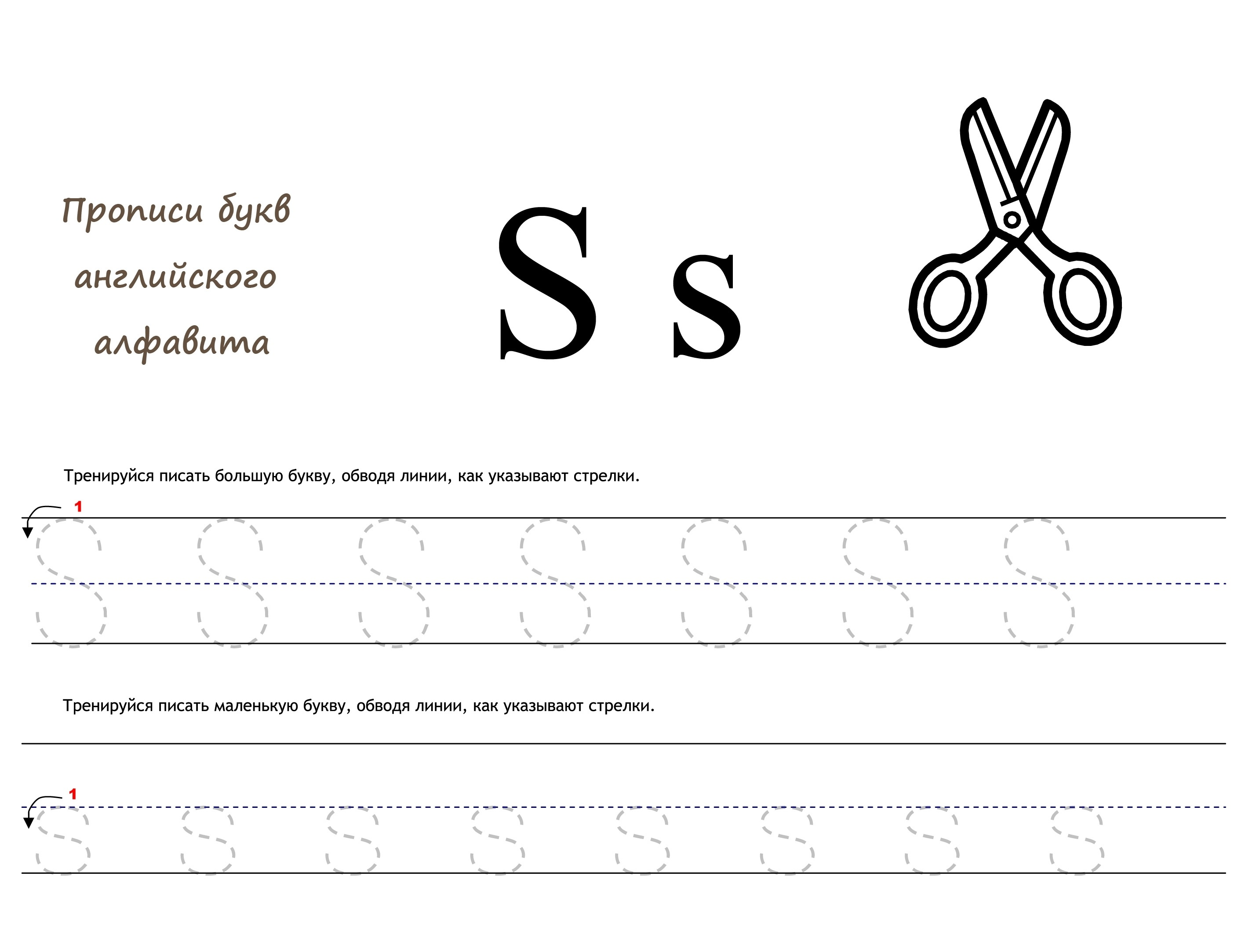 Раскраска Английская буква S прописью распечатать или ...