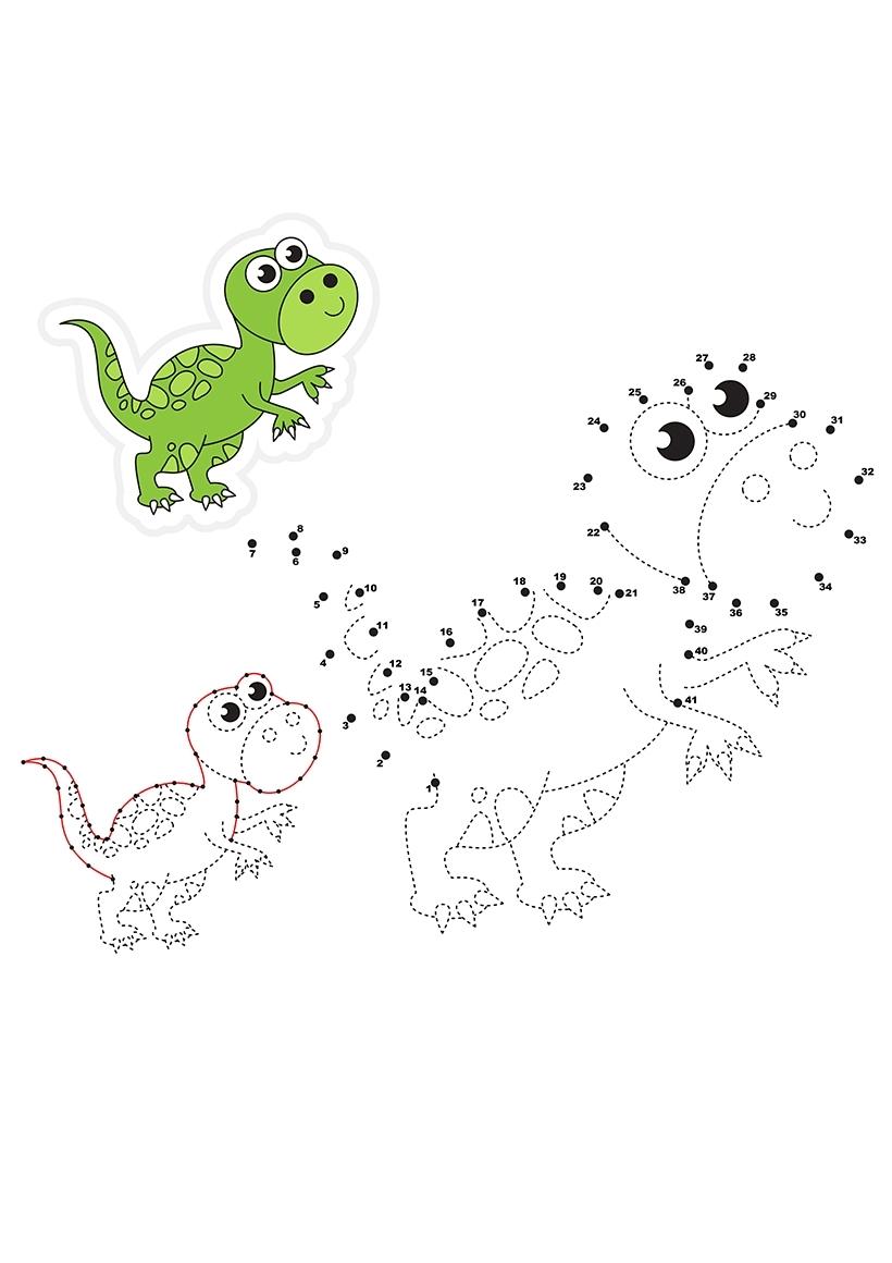 Раскраска Динозавр по точкам распечатать или скачать бесплатно