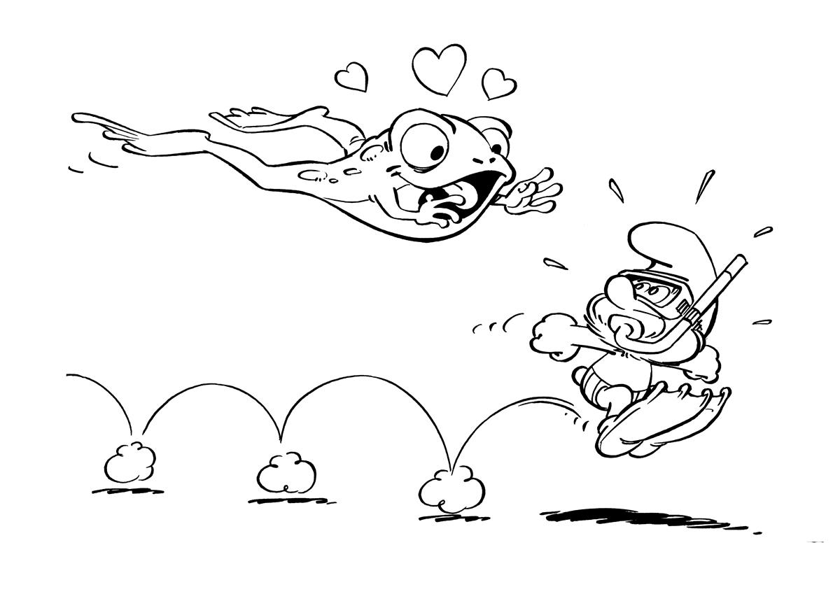 Раскраска Смурфик и лягушка распечатать или скачать бесплатно