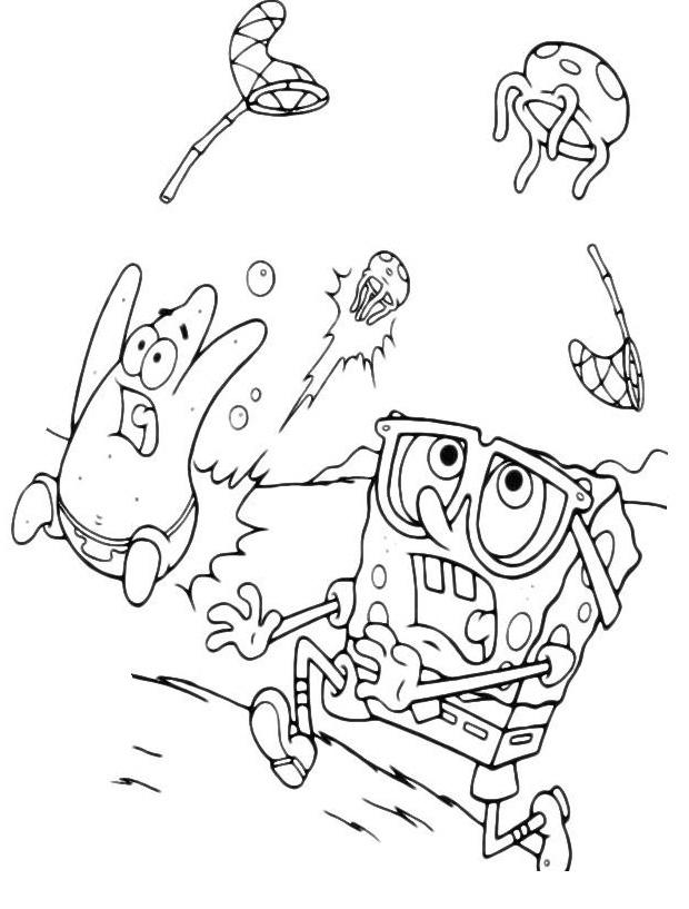 Раскраска Спанч Боб и Патрик слушают ракушки распечатать ...