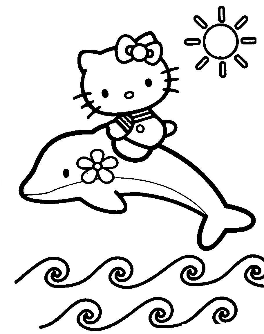 Раскраска Китти подружилась с дельфином распечатать или ...