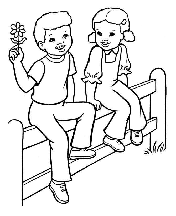 Раскраска Мальчик дарит девочке ромашку распечатать или ...