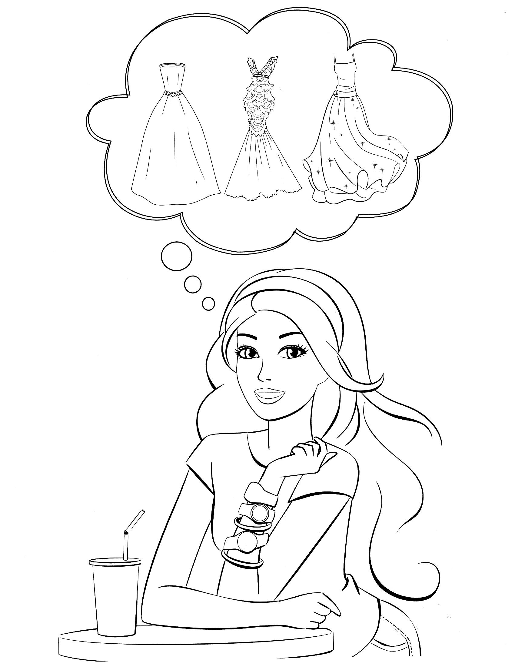 Раскраска Барби мечтает о платьях распечатать или скачать ...