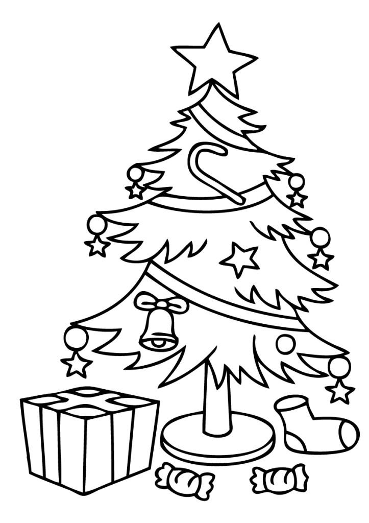 Раскраска Елка с подарками распечатать или скачать бесплатно