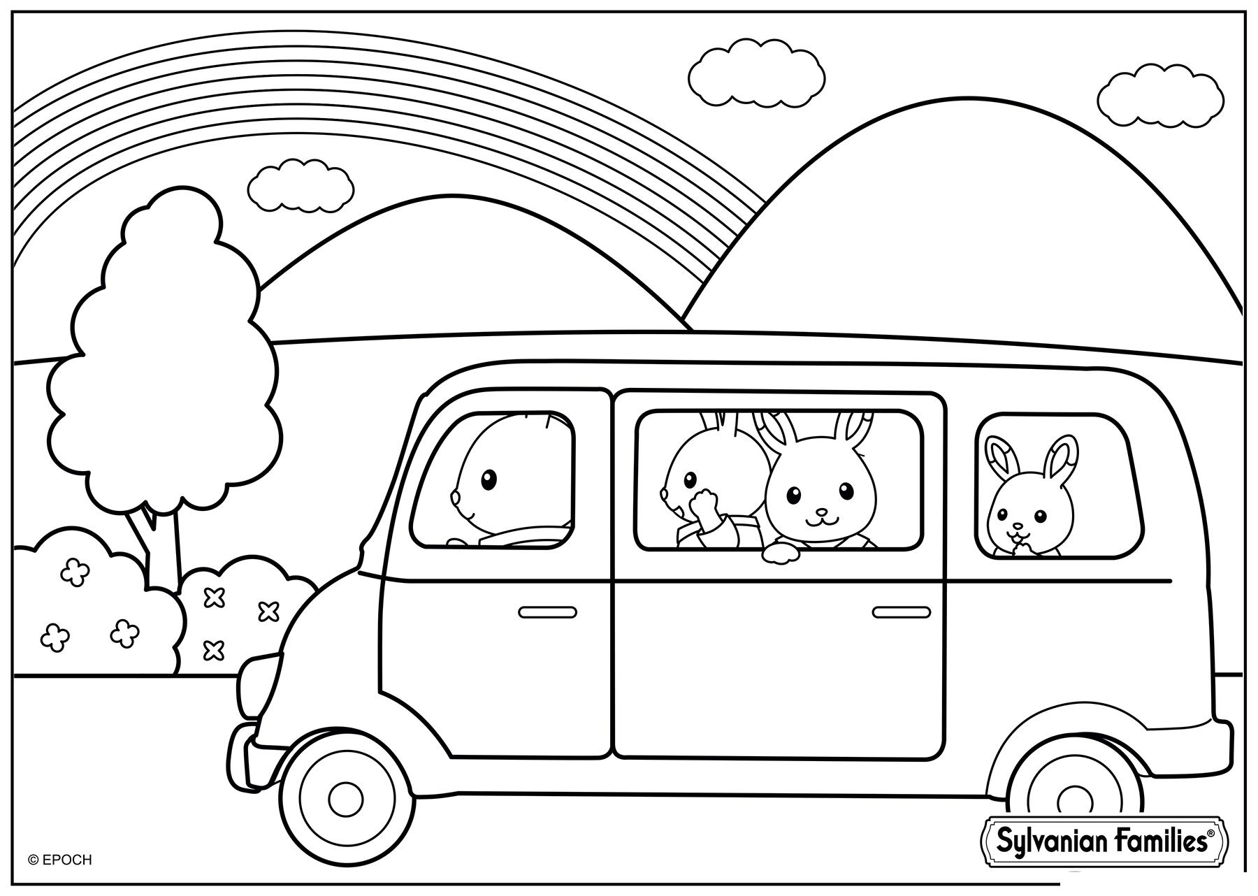 Раскраска Семья Сильваниан в машине распечатать или ...