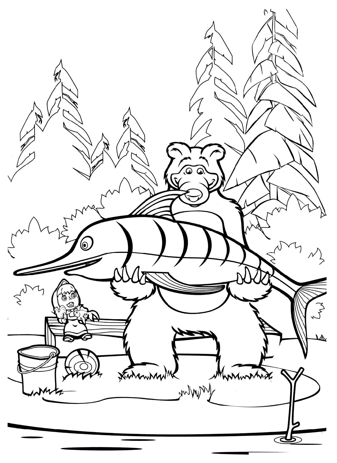 Раскраска Медведь поймал огромную рыбину распечатать или ...