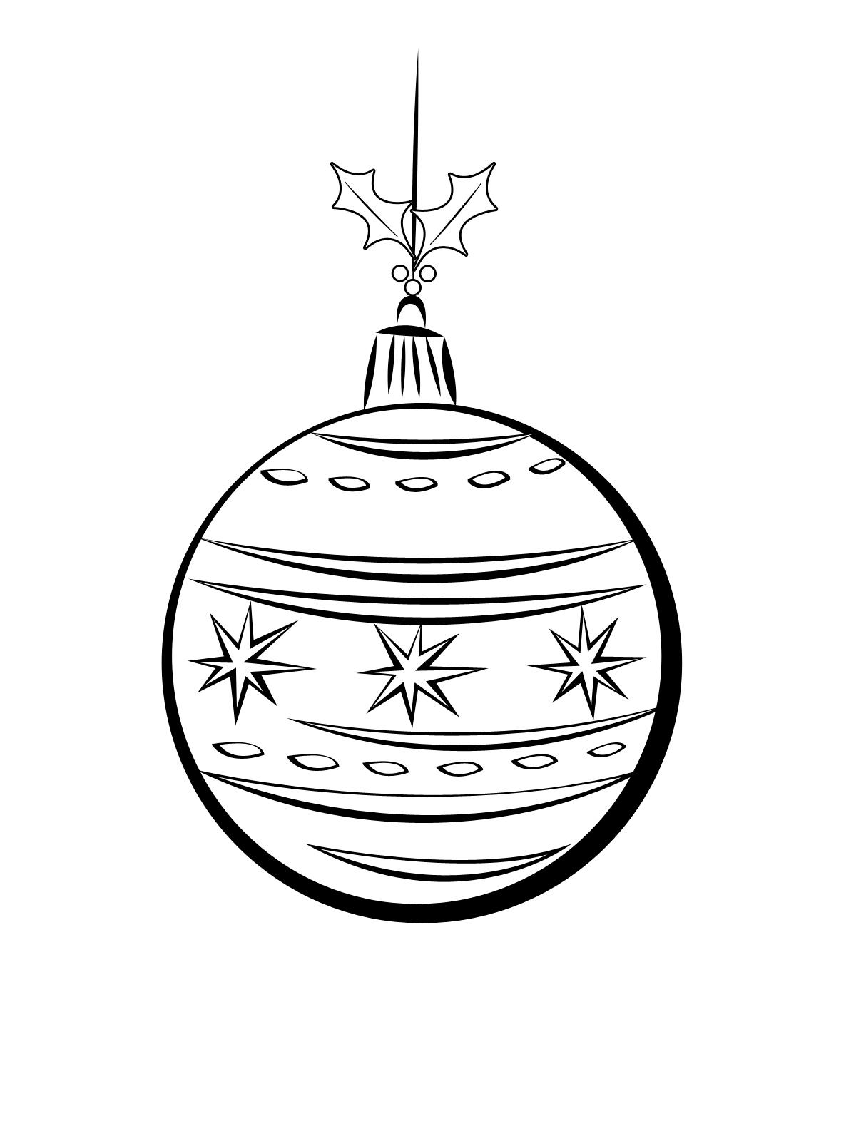 Раскраска Елочный шарик на ветке распечатать или скачать ...