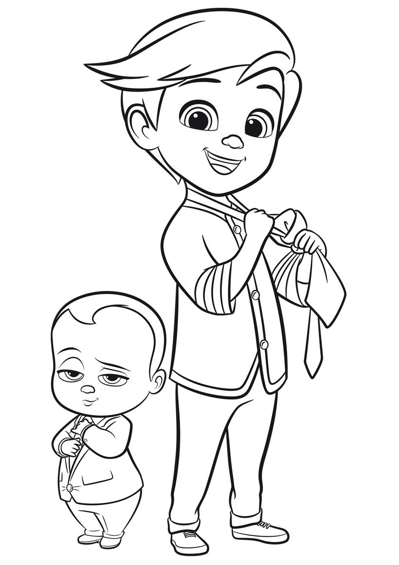 Раскраска Тим и беби босс распечатать или скачать бесплатно