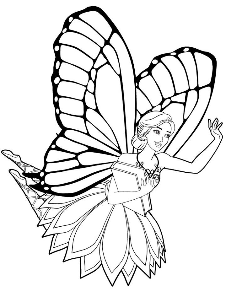 Раскраска Фея Барби распечатать или скачать бесплатно