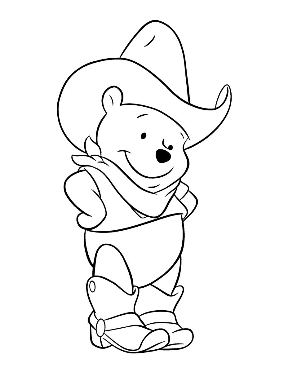 Раскраска Винни-Пух - ковбой распечатать или скачать бесплатно