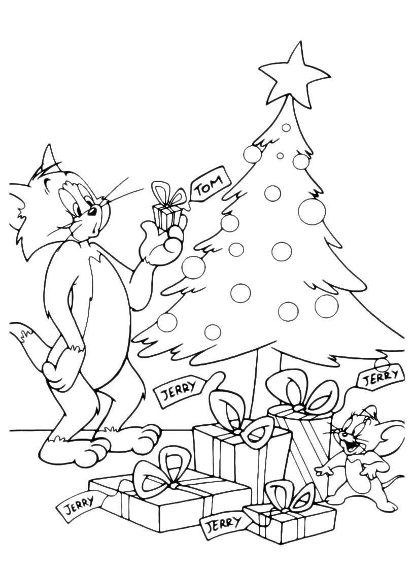 Раскраска Том и Джерри у новогодней ёлки распечатать или ...