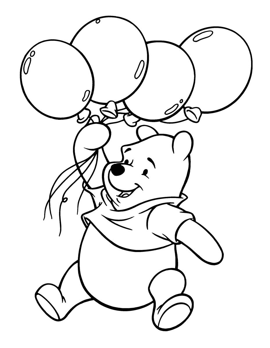 Раскраска Винни-Пух с воздушными шарами распечатать или ...