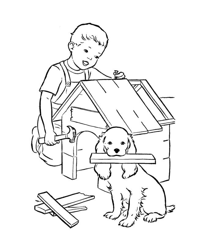 Раскраска Собачья будка распечатать или скачать бесплатно