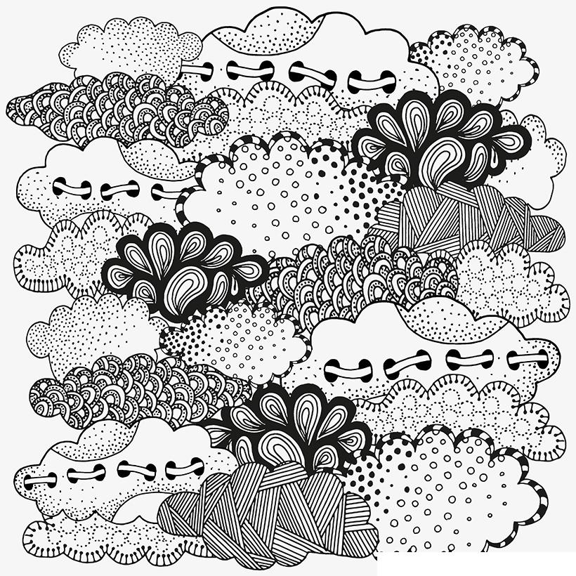 Раскраска Антистресс Облака распечатать или скачать бесплатно