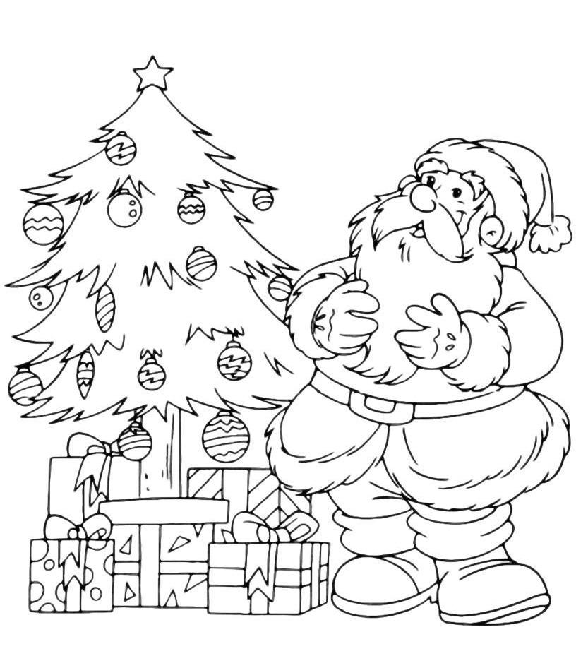 Раскраска Дед Мороз смотрит как дети украсили ёлку ...