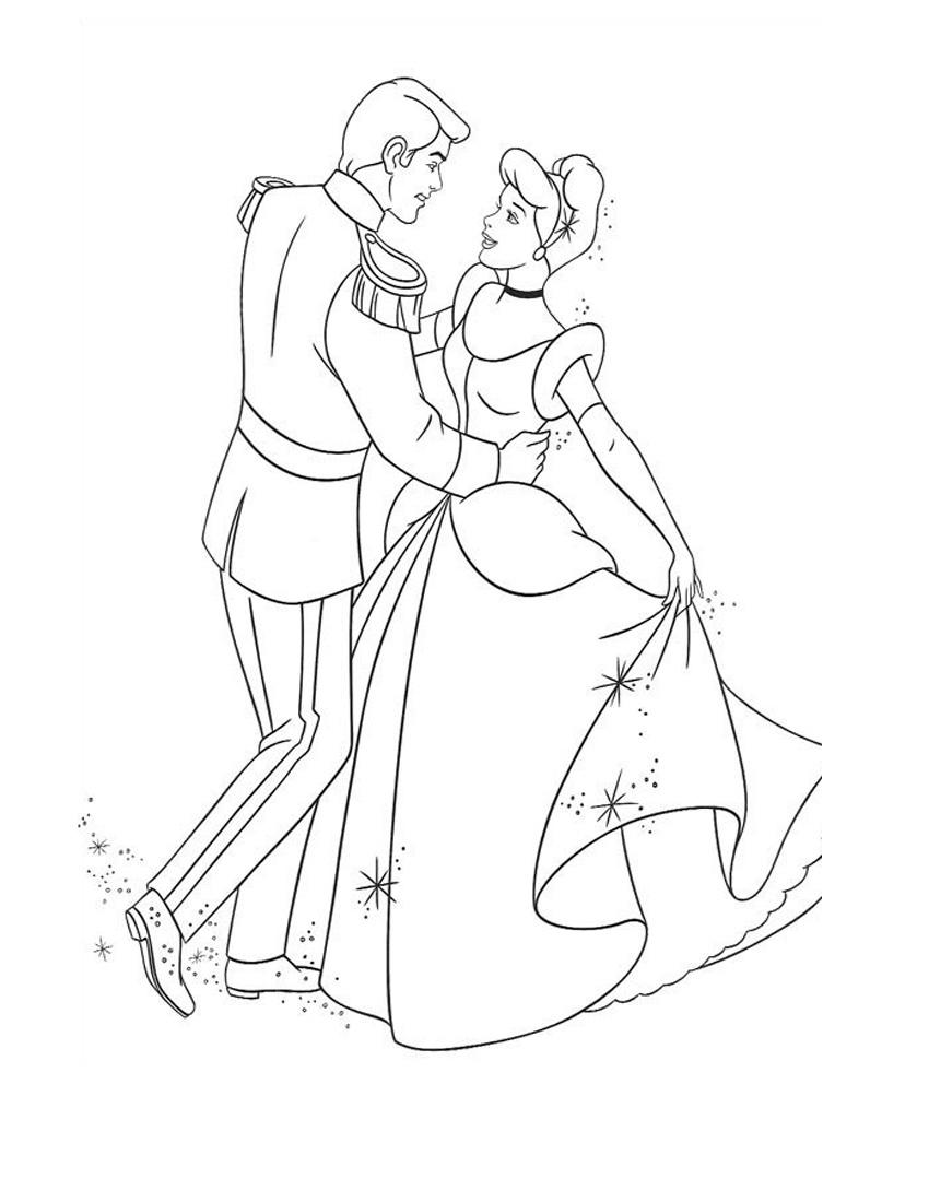 Раскраска Танцующие принц и принцесса распечатать или ...
