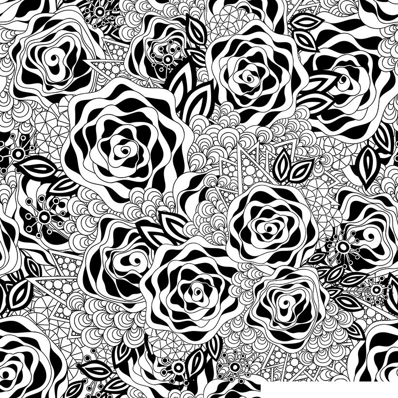 Раскраска Антистресс Розы распечатать или скачать бесплатно