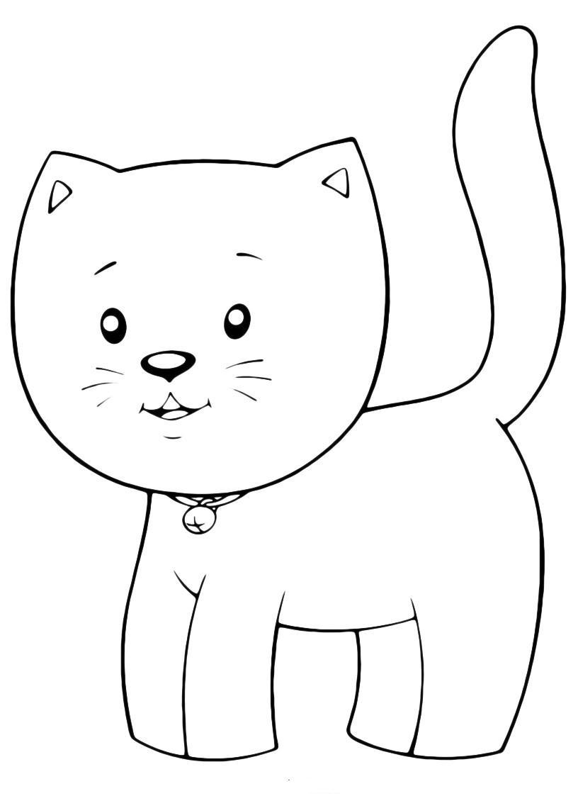 Раскраска Маленький милый котик распечатать или скачать ...